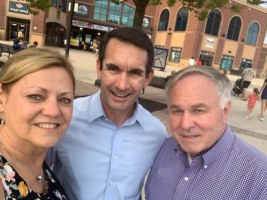 Judith Higgins, left, a candidate for York County Commissioner, posted this photo with state Auditor General Eugene DePasquale, center, and incumbent York County Commissioner Doug Hoke on Sunday, Aug. 25. Higgins and Hoke, both Democrats, were endorsed by DePasquale, who is running for Congress as a Democrat in the 10th District.