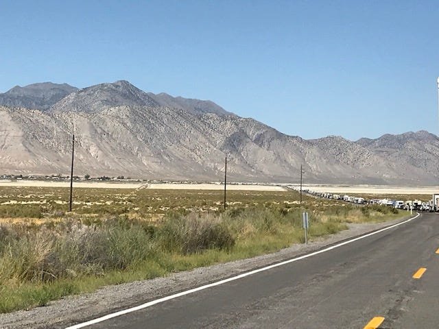 Traffic backed up on County Road 34 on the way to Burning Man after a fatal accident closed the road on Sunday, Aug 26.