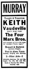 Advertisements for the Marx Brothers appeared in the September 1-4, 1916 editions of the Richmond Evening Item.