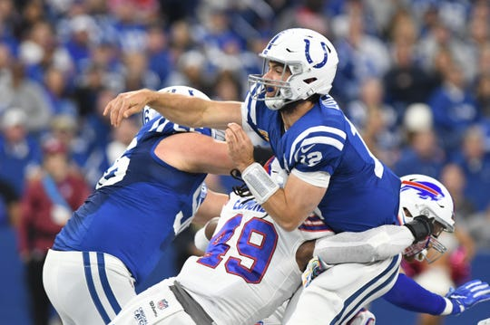 Indianapolis Colts quarterback Andrew Luck is pressured by linebacker Tremaine Edmunds during the Bills 37-5 loss to the Colts in 2018.