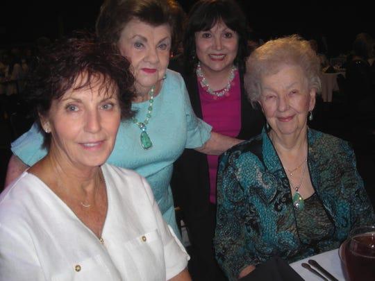 Kathy Anderson, Libby Gleason, Barbara Zerrahn, Joann Davis at YWCA Luncheon.
