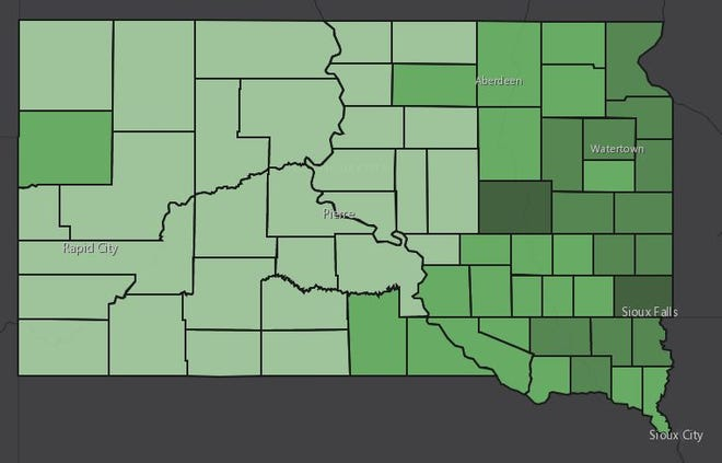 A map of South Dakota counties shows where nest predators were harvested for the $10 bounty, with darker counties having more harvested.