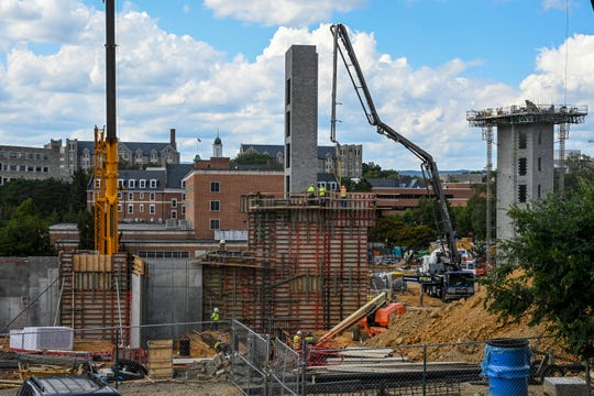 Dormitories are being constructed on the campus of Virginia Tech University in Blacksburg.
