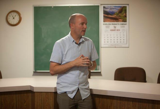 Utah Lt. Gov. Spencer Cox speaks with residents of New Harmony on Monday, Aug. 26, 2019.