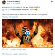 UCF athletic director Danny White sent out this tweet on Aug. 12 regarding the sellout for season tickets in 2019. FAMU and UCF play Thursday, Aug. 29.