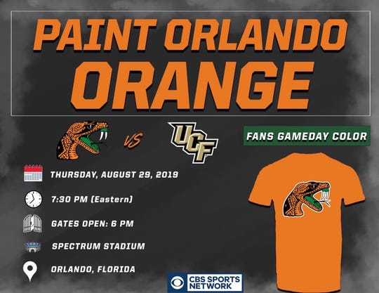 FAMU created this flyer for its social media outlets regarding the game at UCF. Fans are encouraged to wear orange on Thursday night.