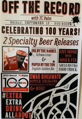 Poster for the release of a series of Press Journal centennial beers Sept. 13, 2019, at Walking Tree Brewery in Vero Beach.