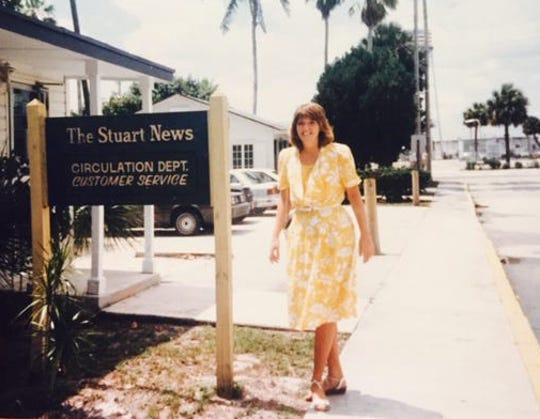 Molly Hileman, Treasure Coast building manager for Treasure Coast Newspapers, in 1988 stands outside the Stuart News circulation department at 111 East Ocean Blvd, in Stuart.