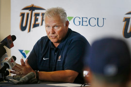 UTEP head football coach Dana Dimel speaks at a press conference prior to the game against Huston Baptist Monday, Aug. 26, at the Larry K. Durham Center in El Paso.
