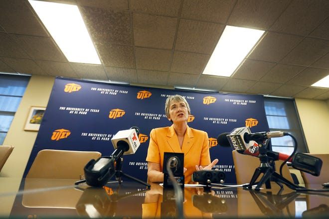 UTEP President Heather Wilson speaks during a news conference on the first day of the fall semester Monday, Aug. 26, 2019, at the Administration Building on the campus in El Paso.