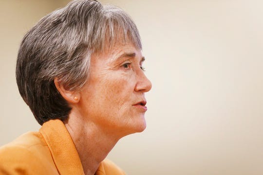 UTEP President Heather Wilson speaks at a news conference on the first day of school Monday, Aug. 26, 2019, at the Administration Building on the campus in El Paso.