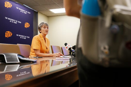 UTEP President Heather Wilson holds a news conference on the first day of school Monday, Aug. 26, 2019, at the administration building on the campus in El Paso.