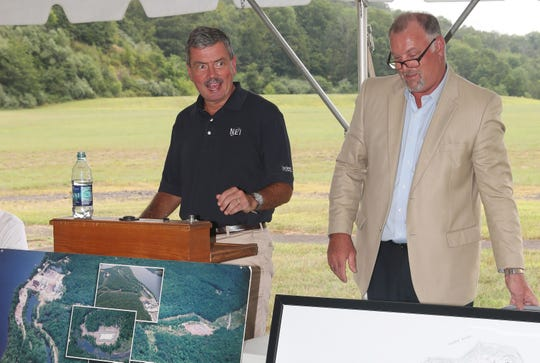 From left, Rod McCullum, Nuclear Energy Institute's senior director of nuclear decommissioning and Wayne Norton, President and CEO of Connecticut Yankee Atomic Power Company, talk about the decommissioning of the power plant in Haddam Neck, CT. Aug. 21, 2019.