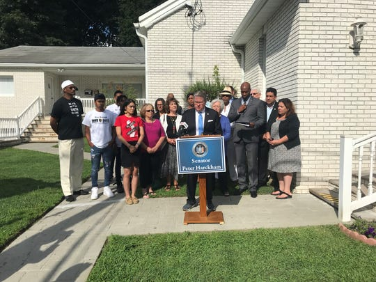 New York State Senator Harckham speaking at a press conference denouncing white supremacy stickers found in Peekskill, Aug. 25.