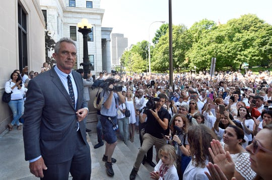 Attorney Robert F. Kennedy, Jr. speaks after a hearing challenging the constitutionality of the state legislature's repeal of the religious exemption to vaccination on behalf of New York state families who held lawful religious exemptions, during a rally outside the Albany County Courthouse Wednesday, Aug. 14, 2019, in Albany, N.Y.