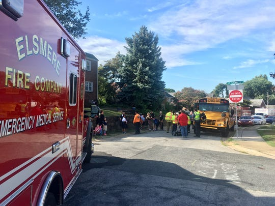 The scene after a school bus was involved in a crash at Clayton Road and St. Elizabeth Street in Wilmington.