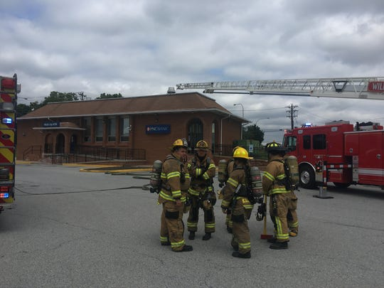 Firefighters on Monday responded to reports of a hazardous material or substance at the PNC Bank at 1 East Basin Road in New Castle.