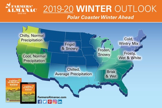 The Old Farmer's Almanac is calling for a frosty and wet winter in the region that includes Delaware.
