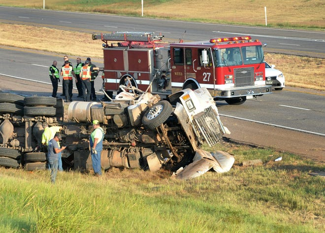 In this file photo, Wichita Falls emergency crews respond to a report of a hazmat accident on 287 near Wellington Road.
