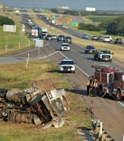 Wichita Falls emergency crews respond to a report of a hazmat accident on 287 near Wellington Road, Monday morning.