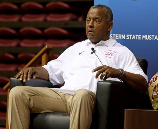 Tony Dorsett answers questions at the Midwestern State football Welcome Back Dinner Sunday, Aug. 25, 2019, in D.L. Ligon Coliseum.