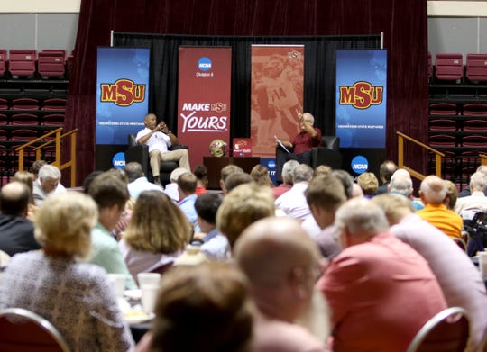 Jerry Johnson, right, interviews Tony Dorsett at the Midwestern State football Welcome Back Dinner Sunday, Aug. 25, 2019, in D.L. Ligon Coliseum.