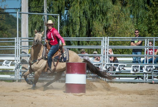 Pictured in this UW-River Falls file photo is the Falcon Frontier Rodeo at Campus Farm, put on by the Rodeo Club on Sept 9. 2017.