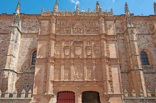 The main building at the University of Salamanca in Spain features an ornate 16th-century facade.