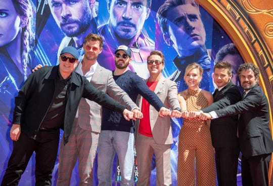 "The Avengers outran ""Avatar"" this summer. Pictured: President of Marvel Studios/Producer Kevin Feige, Chris Hemsworth, Chris Evans, Robert Downey Jr., Scarlett Johansson, Mark Ruffalo and Jeremy Renner at the 'Avengers: Endgame' hand print ceremony at TCL Chinese Theatre in April."