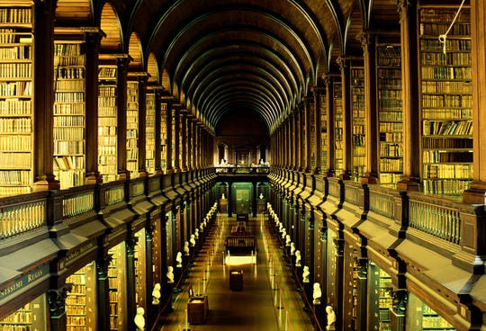The Long Room at the library of Trinity College in Dublin.