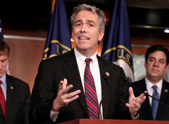 Former Illinois Rep. Joe Walsh announced on Aug. 25, 2019 he'll challenge President Donald Trump for the Republican nomination in 2020. The tea party favorite argues that Trump is unfit for the White House.  In this Nov. 15, 2011, file photo former U.S. Rep. Joe Walsh, R-Ill., gestures during a news conference on Capitol Hill in Washington.