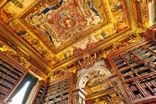 King João's Library, in Coimbra, Portugal, has a spectacular Baroque ceiling. \