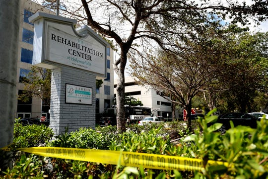 On Sept. 13, 2017, police surround the Rehabilitation Center at Hollywood Hills in Florida, where 12 patients died after being kept inside a nursing home that turned into a sweatbox when Hurricane Irma knocked out its air conditioning.