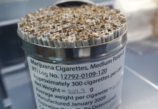 Marijuana cigarettes from 2009 are displayed in the Weedmaps Museum of Weed.