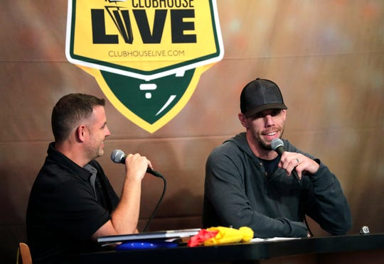Clubhouse Live co-host Brett Christopherson (left) talks with guest and former Green Bay Packers tight end Tom Crabtree during Monday's season premiere of Clubhouse Live in Appleton.