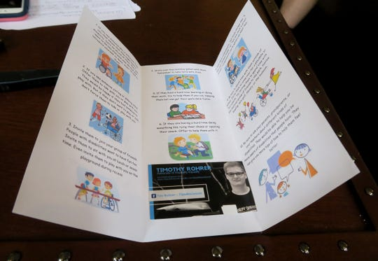 A flyer produced by Tim Rohrer is shown during an interview Tuesday, August 27, 2019, at his Millstone Township home.  Tim has autism and has become a sought-after speaker since he published a guide on how to treat people with disabilities.