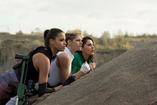 """Ella Balinska, from left, Kristen Stewart and Naomi Scott star in """"Charlie's Angels."""""""