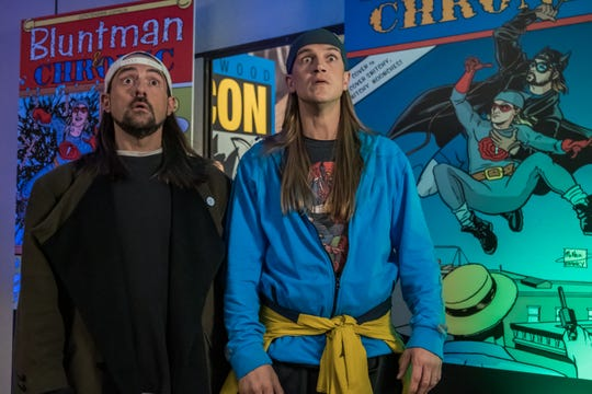 "Kevin Smith as Silent Bob, left, and Jason Mewes as Jay in the comedy ""Jay and Silent Bob Reboot,"" a Saban Films release."