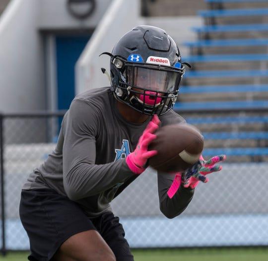 Asbury Park receiver Makai Brown-Jones. Asbury Park pre-season football practice in Asbury Park, NJ on August 27, 2019.