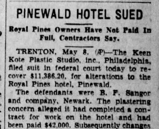 An Asbury Park Press clipping from May 8, 1931, shows some of the scandal that surrounded the newly finished Royal Pines Hotel in the Pinewald section of what's now Berkeley Township.