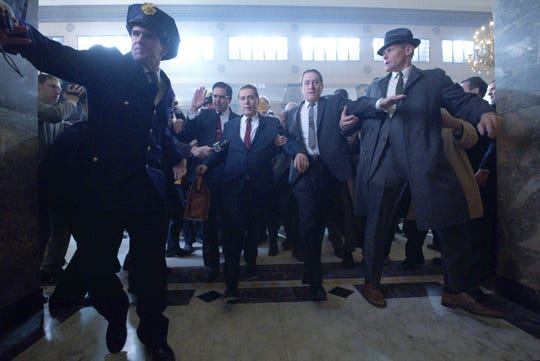 "Ray Ramano, from left, Al Pacino and Robert De Niro in ""The Irishman."""