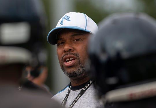 Asbury Park head coach Tim Fosque.  Asbury Park pre-season football practice in Asbury Park, NJ on August 27, 2019.