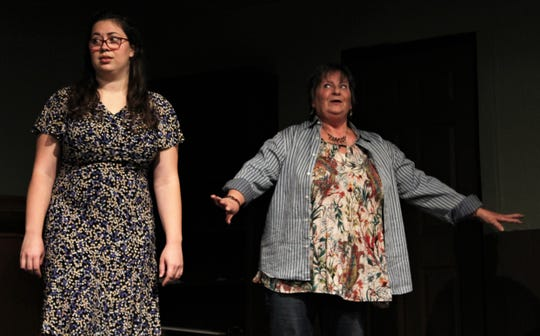"Stella (Pam Peraza, right) can't believe the way her middle-aged neighbor Sam Stover is acting while talking with his daughter-in-law Nina (Melissa Emig) in this early rehearsal scene from ""Apple of His Eye,"" Abilene Community Theatre's 2019-20 opening production. Aug. 26 2019"