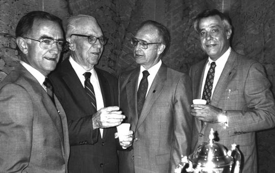From left: Celebrating the 50th anniversary of Condley and Company in September 1989 were Jerry Carter, founder Horace Condley, Charles Spicer and Billy Edwards.