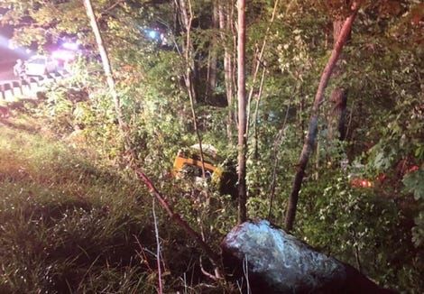 An activity bus carrying 14 students and teachers from Thomas Jefferson Classical Academy High School fell down an embankment of over 30 feet Monday night near the top of Cox Creek Mountain at the Mitchell County line.