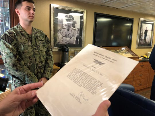 The letter Adm. Chester Nimitz wrote to Guy Adams Mason. Mason's grandson presented the letter to the USS Nimitz on Tuesday.