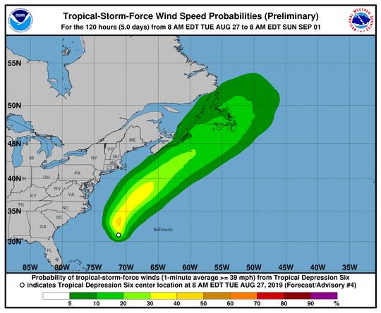 Tropical Storm 6, 11 a.m. Aug. 27, 2019
