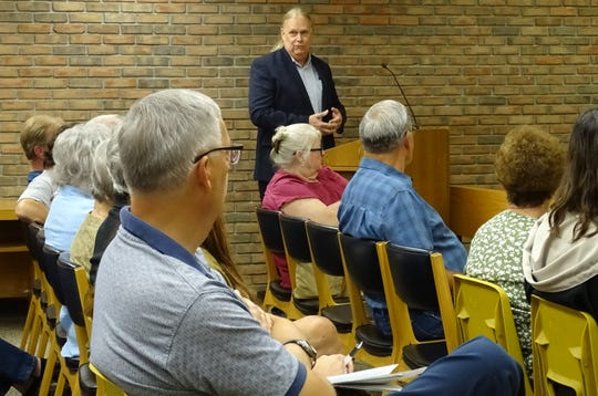 City consultant Barry Franz of Diversified Environmental Consulting speaks during a special meeting of Bucyrus City Council's public lands and buildings committee on Monday evening in council chambers.