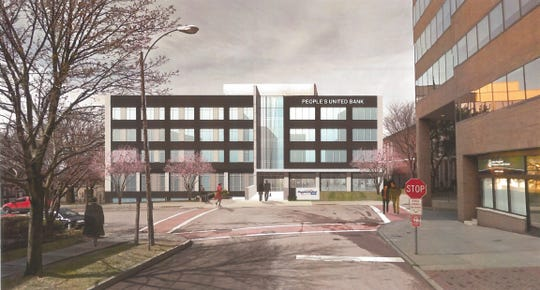 An artist's rendition of the renovated People's United Bank building, which will include 50 apartments.
