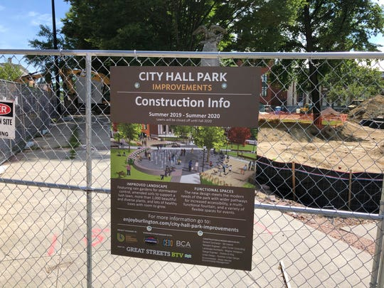 A sign lays out information about the work on City Hall Park in Burlington on Tuesday, Aug. 27, 2019.